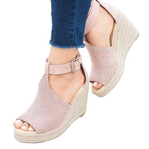 Damen Sandalen Espadrilles Keilabsatz Wedges Schuhe Mit Absatz Sandaletten Riemchensandalen Rosa 42 EU