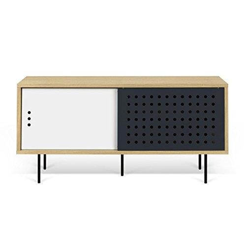Paris Prix - Temahome - Meuble TV Design dann Dots 135cm Chêne & Blanc
