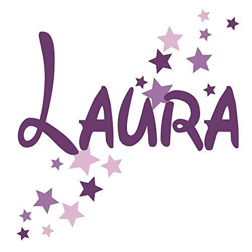 Wandtattoo Türaufkleber, Kinderzimmer mit Namen für Mädchen, 73002-29cm-tricolore-violett, mit bunten Sternen fürs Mädchenzimmer, Wandaufkleber, Namensaufkleber Wunschname