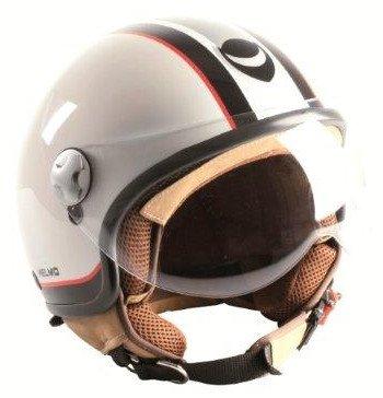 HELMO Casco Demi-Jet Helmetto Visiera Aviatore M Bianco