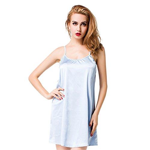 ETAOLINE Femmes Chemise De Nuit Pyjamas Confortable Satin Nuisettes Peignoirs Bleu Clair