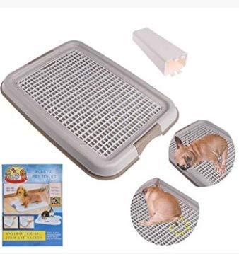 SYXFS Inodoro para Mascotas, Bandeja de Entrenamiento Sanitaria, Inodoro Interior y Exterior para Perros, Malla de plástico, Color café (48 x 36 x 3 cm)