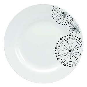 Novastyl 7154055 Lot de 6 Assiettes Pissenlit Porcelaine Blanc/Noir 26,4 x 29 x 2,29 cm