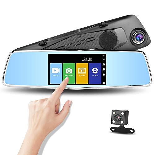 Rückfahrkamera, 12,7 cm/17,8 cm, Spiegel, Dashcam, Front- und Rückfahrkamera mit Touchscreen, Video-Streaming, Nachtsicht, wasserdicht, 1080P Rückkamera 12,7 cm