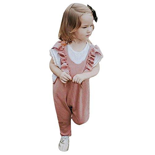 Baby Overalls, UFODB Mädchen Kleinkind Outfits Stricken Strampler äRmellos Spielanzug Toddler Kinder Knitted Ruffle Romper Neugeborenes Kinderkleidung