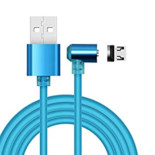 ALTech® 1M 360°L Side Interface Micro USB Magnetic Suction Fast Charging Cable For Samsung S2 S3 S4 S6 S7 Edge, Note 2/3/4/5 and other Android Device (Blue)
