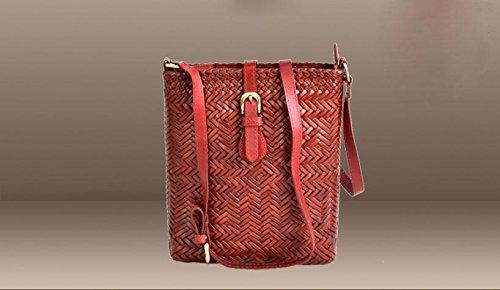 Chiusura magnetica retrò intrecciato borsa in pelle a tracolla borsa intrecciata a mano , wine red