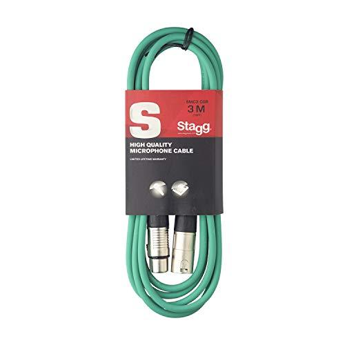 Stagg 3m hochwertigen XLR-auf XLR-Stecker Mikrofon Kabel grün