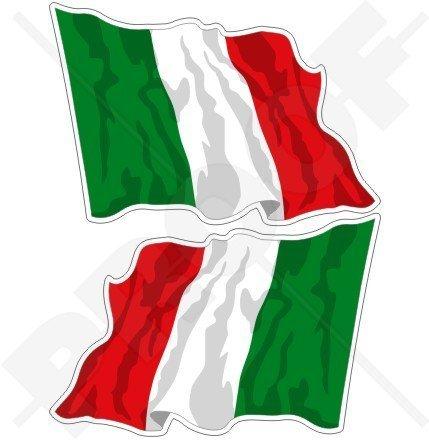 ITALIEN Italienische Wehende Flagge ITALIEN 75mm Auto & Motorrad Aufkleber, x2 Vinyl Stickers (Links - Rechts)