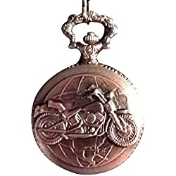 Motorcycle Motor Bike Copper Pocket Watch with Chain