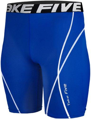 new-048skin-leggings-calze-a-compressione-strato-base-blu-pantaloni-pantaloncini-da-corsa-da-uomo-bl