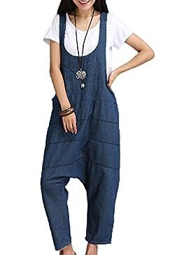 ZhuiKunA Petos para Mujeres Vintage Denim Chicas Monos Harem Bolsillos Fiesta Pantalones