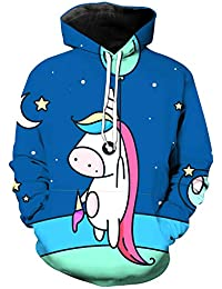 FGVBWE4R 2019 New 3D Fun Rainbow Unicorn Print Print Felpa con Cappuccio per Bambina Girl Cute Felpa con Cappuccio Black Friday Gift for Kids Felpe con cappuccio Felpe e felpe con cappuccio