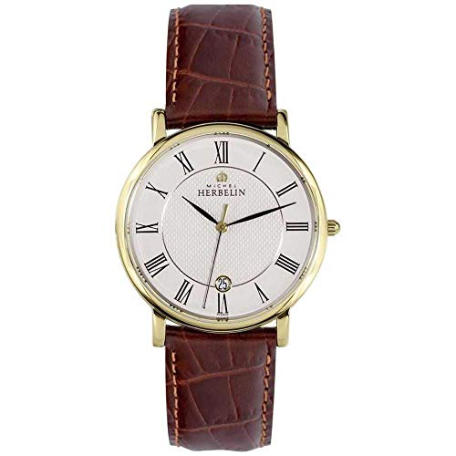 Michel Herbelin Men's Classic 38mm Brown Leather Band Quartz Watch 12248/P08MA