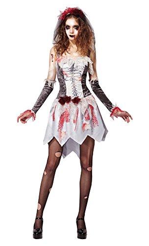 7Skelett Braut grau/weiß, grau, UK 10–14 (Zombie Braut Halloween-kostüme Uk)