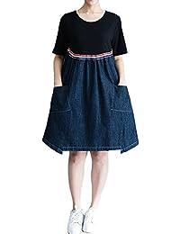 P Ammy Fashion Women s Plus Size Long Tunic Cotton   Denim Dress 0404754372f5