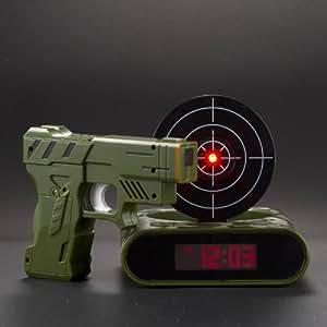 Réveil - Matin réveil de tir avec pistolet pour les paresseux électronique réveil créatif horloge Vert