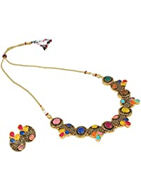 Aradhya Traditional Designer Kundan Necklace Set With Earrings For Women And Girls - B078TH5LJH