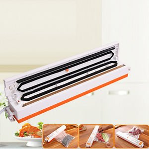 My home Automatic Electric Vacuum Sealer Foodsaver Storage Bags Kitchen Sealing Machine (White with Orange)