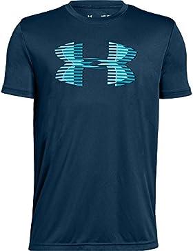 Under Armour Camiseta de Manga Corta Logo Grande para niños, Niños, 1331687-489, Techno Teal/Deceit/Venetian Blue...