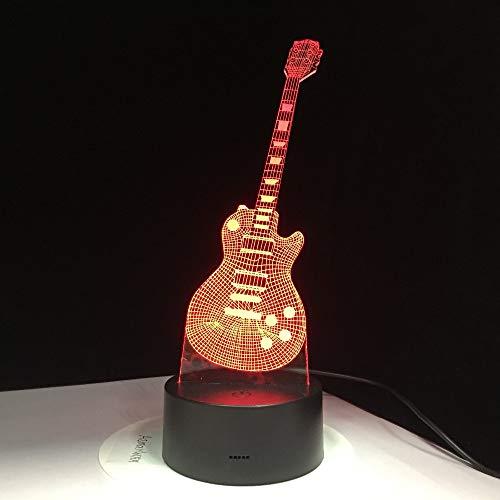 PDDXBB E-Gitarre 3D Led 7 Bunte USB Lampe Tischlampe Baby Schlaf Nachtlicht Musik Sax Dekoration Mit Fernbedienung Kinder Geschenke Sieben Farben 85 * 85 * 37 Mm (Riss Basis Touch Fernbedienung)