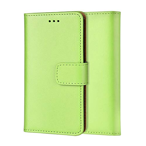 Ameego Premium Genuine Real Leather Slim Wallet Flip Stand Case Cover for Samsung Galaxy ACE 3 (Green)