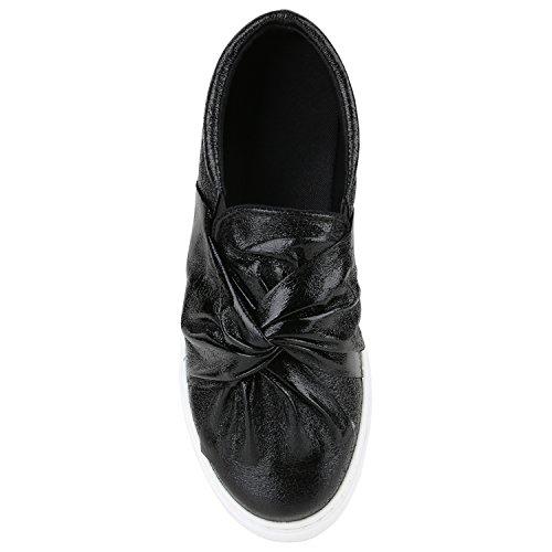 Damen Sneakers Slip-ons Lack Glitzer Metallic Slipper Schuhe Schwarz Schleifen