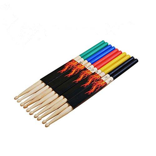 rosenice Drum Sticks 7A Drum Zubehör Multi Farbe für Kinder 5Paar