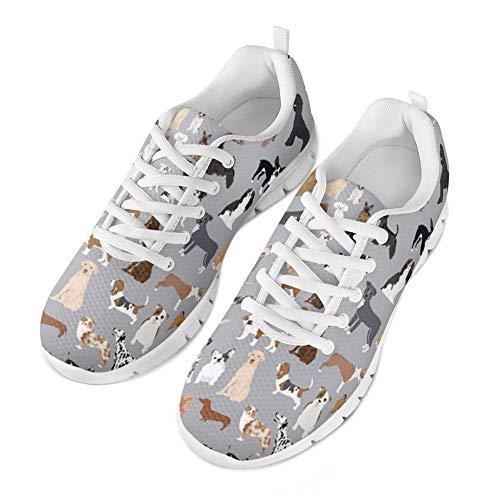 Coloranimal Women's Jogging Laufen Wanderschuhe Grauer Pudel Hirte Akita Corgi Puzzle Luftkissen Bequeme Schnürschuhe Flache Schuhe rutschfeste EU-Größe 39 - Womens Pudel