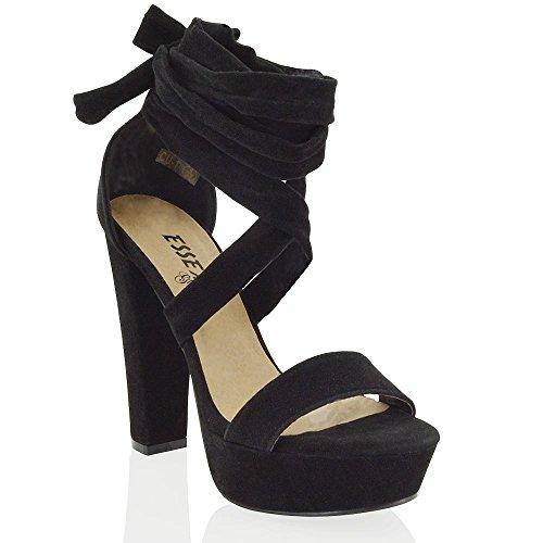 Essex Glam Sandalo Donna Nero Finto scamosciato con Allacciatura Tacco Alto a Blocco EU (Disco Piattaforma)