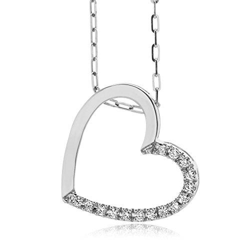 Miore - Collar de mujer con oro blanco (9 k), diamante redondo, 45 centimetros