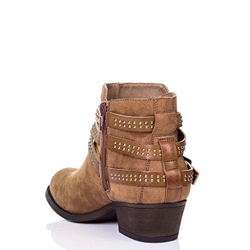 SPYLOVEBUY EFFIE Femmes Boucle à Talon Bloc Bottines Chaussures Tan - Simili Daim