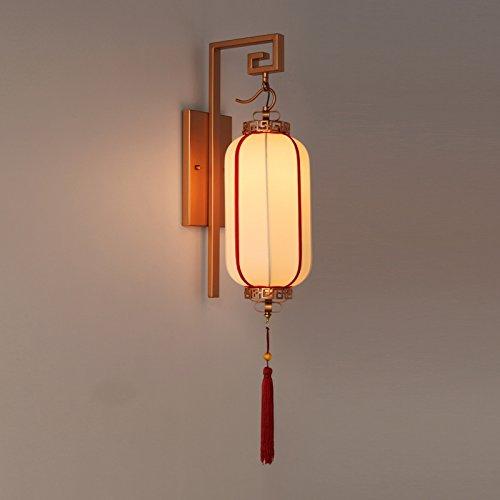 GaoHX moderno Wrought-Iron Chinese-Style Lampada da parete Ristorante Sala da pranzo Soggiorno Tessuto Artigianale Lampada da parete (19*26*83cm)