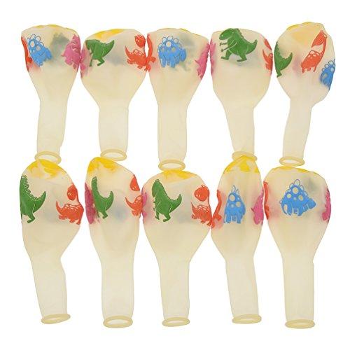 Kesheng 12 Pulgadas Globos de Látex Estampados de Dinosaurio para Decoración de Fiesta de Cumpleaños 10pcs Color Transparente
