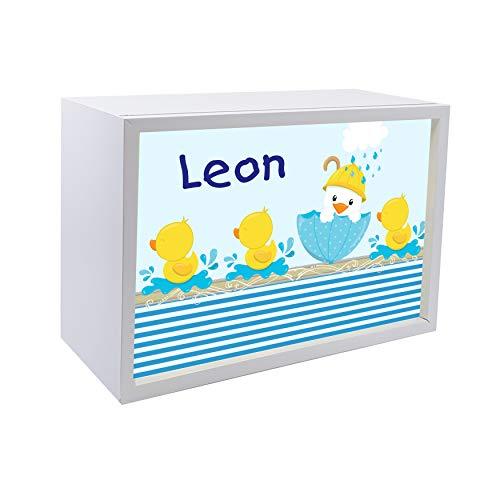 Kinder Wandlampe aus Holz Buche mit Namen, LED Kinderlampe mit Schalter für Steckdose, ideale Dekoration als Lichtbox, Tischlampe fürs Kinderzimmer, Lampen - Motiv Ente, Holzfarbe Buche weiß -