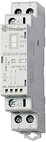 Finder 223202304340 Schalter, modular, 230 V AC/DC Nr. 1/1 A 25 kN AgSno2 mechanischer Anzeige/LED, mit Schalter
