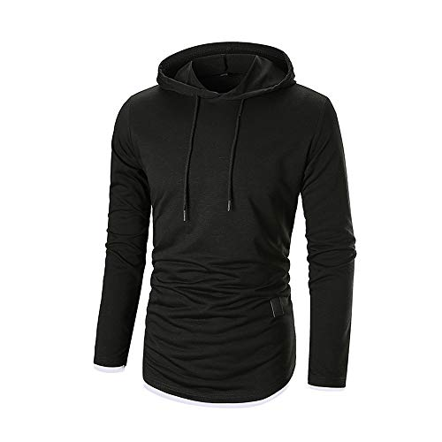 Godet Top (ESAILQ Herren Herbst Langarm-Kapuzenshirt Kapuzenpulli Top T-Shirt Outwear Bluse(Medium,Schwarz))