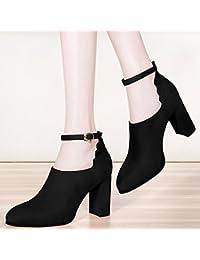 KPHY Herbst Neue tief grob 8 cm hohe Schuhe mit Schnalle all-match Damen-Schuhe