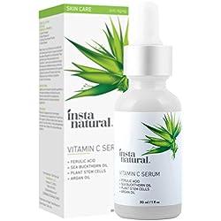 InstaNatural Vitamin C Serum – Bestes flüssiges Antialterungs-Serum fürs Gesicht – Vermindert Falten, Hyperpigmentation und Sonnenflecken – Enthält reines Vitamin C und Hyaluronsäure – Mit organischem Argan- und Hagebuttenöl, Vitamin E, Ferulasaeure und Sanddornoel – 30ml