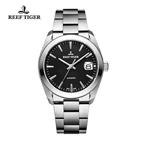 Reef Tiger Business in acciaio nero quadrante orologio automatico con grande data RGA835