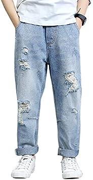 LAPLBEKE Bambino Cotone Strappato Jeans - Bambini Sciolto Denim Pantalone - Ragazzo Ragazzi All'aperto Scu