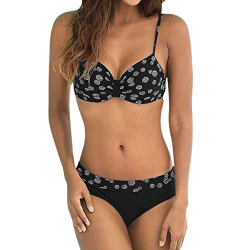 VBWER Damen Retro Stil Polka-Punkt mit Hoher Taille Badeanzug Bikini mit Set Sexy Nackenträger Zweiteiliger Bademode