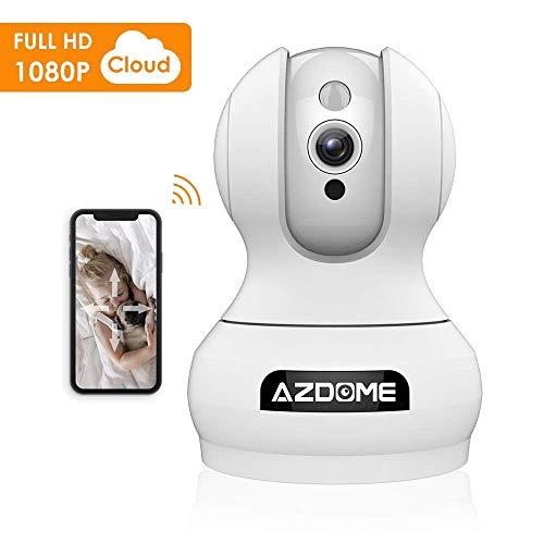 Caméra Surveillance IP sans Fil AZDOME HD 1080P Cloud PTZ Pan/Tilt/Zoom Bidirectionnel Accès à Distance Détecteur de Mouvement Vision Nocturne Caméra Espion Sécurité (Modele A)