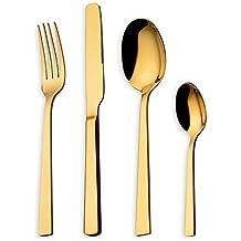 HOMQUEN Juego de cubiertos 24 piezas Juego de platos con titanio dorado, juego de cubiertos