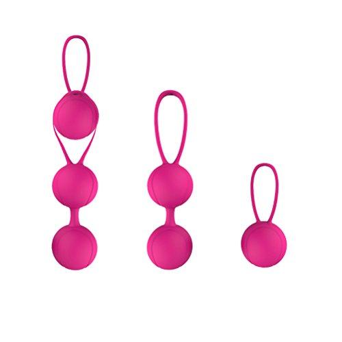 FENICAL Ejercicios Kegel Pesas Bolas de entrenamiento de silicona para el control de la vejiga y los ejercicios del piso pélvico (Rosa roja)