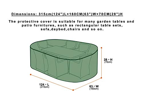 Patio Table Protective Cover, Waterproof Breathable Polypropylene Outdoor Furniture Cover for Garden Table and Chairs Set, Furniture Sets,Sofa Set, Green (315x160x70cm)