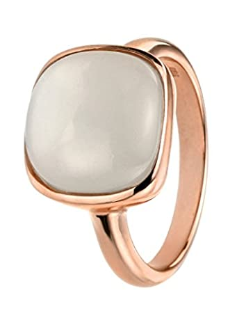 Elements Silver Sterling Silver Rose Gold Cabochon Moonstone Ring - Size N