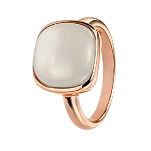 Elements Silver Sterling Silber Rose Gold Cabochon Mondstein Ring–Größe N