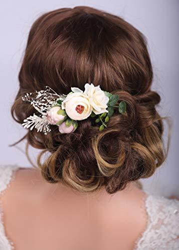 Kercisbeauty Haarkamm mit Blumendesign, für Hochzeiten, Brautschmuck, Blumen, dekorativer Kamm, für Damen, Mädchen, Festival, Partys