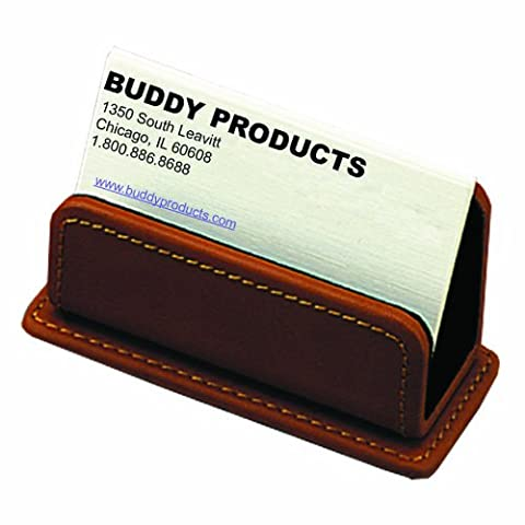 Buddy Products Milano Collection Leather Business Card Holder, Brown, 9249-27